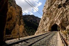 Spoorweg in bergpas royalty-vrije stock afbeelding