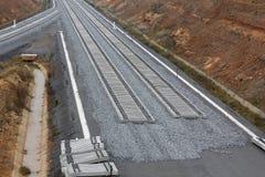 Spoorweg bij de bouw stock fotografie