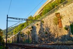 Spoorweg bij de voet van de berg door een muur wordt door groen op de zomer wordt omringd gescheiden die stock afbeelding