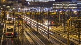 Spoorweg bij nacht Stock Fotografie