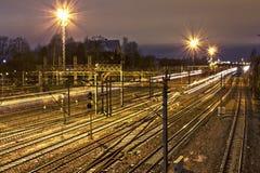 Spoorweg bij nacht Stock Foto