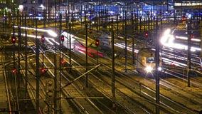 Spoorweg bij nacht Royalty-vrije Stock Fotografie