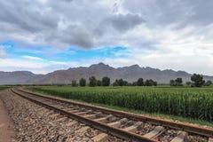 Spoorweg in binnenMongolië royalty-vrije stock foto's