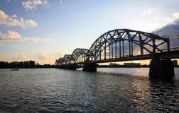 Spoorweg-brug in Riga Stock Afbeelding