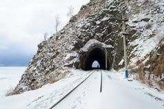 Spoorweg circum-Baikal stock afbeeldingen