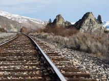 Spoorweg in de riviervallei van Colombia, WA royalty-vrije stock afbeeldingen