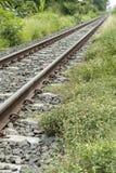 Spoorweg, de sporen voor het vervoer van substanties en producten Stock Foto's
