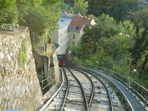 Spoorweg in de stad van Graz oostenrijk royalty-vrije stock afbeeldingen