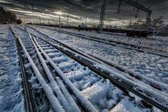 Spoorweg in de winter royalty-vrije stock foto