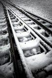 Spoorweg in de winter royalty-vrije stock afbeeldingen