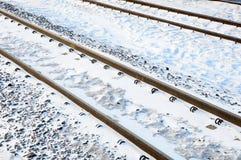 Spoorweg in de winter Stock Afbeelding