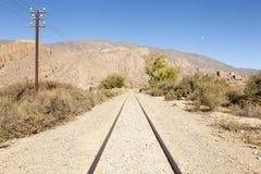 Spoorweg in de woestijn Royalty-vrije Stock Foto