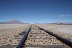 Spoorweg in de Woestijn stock foto's