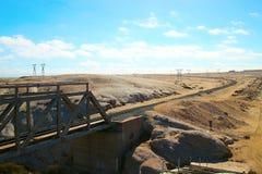 Spoorweg in de Woestijn stock afbeelding