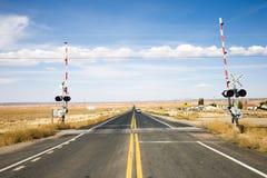 Spoorweg die met poorten kruist Stock Fotografie