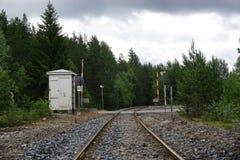 Spoorweg die met rood licht kruisen Stock Afbeelding