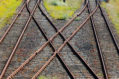 Spoorweg die op grint in de zonneschijn kruisen Royalty-vrije Stock Afbeelding
