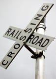 Spoorweg die teken kruist Royalty-vrije Stock Foto's