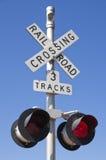 Spoorweg die Teken kruist Royalty-vrije Stock Afbeelding