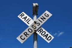 Spoorweg die teken kruist Stock Foto