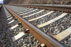 Spoorweg, een foto met perspectief Royalty-vrije Stock Afbeelding