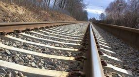 Spoorweg, een foto met perspectief Stock Afbeelding