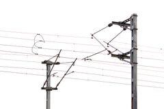 Spoorweg elektrische lijnen Stock Foto's