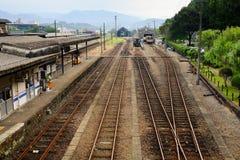 Spoorweg en hemel Stock Fotografie