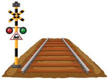 Spoorweg en verkeerslicht voor trein stock illustratie