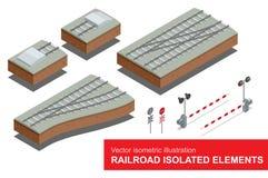 Spoorweg geïsoleerde elementen voor het vervoer van de spoorvracht Vector vlakke 3d isometrische illustratie van spoorwegsignaal Royalty-vrije Stock Foto's