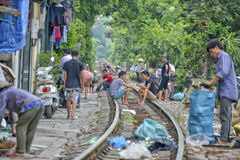 Spoorweg, Hanoi, Vietnam Royalty-vrije Stock Fotografie