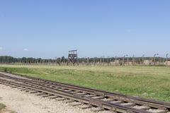 Spoorweg in het concentratiekamp Birkenau royalty-vrije stock fotografie