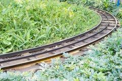 Spoorweg in het park Stock Afbeeldingen