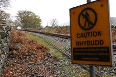 Spoorweg in het park van Snowdonia stock foto