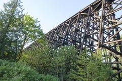 Spoorweg houten brug Stock Afbeelding