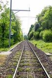 Spoorweg in Interlaken, Zwitserland Stock Fotografie