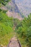 Spoorweg in Kanchanaburi Thailand. Royalty-vrije Stock Foto