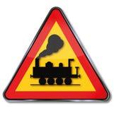 Spoorweg kruising en stoomlocomotief vector illustratie