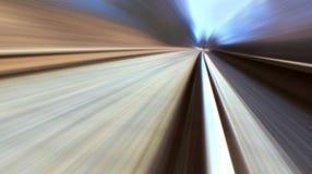 Spoorweg met het onduidelijke beeld van de hoge snelheidsmotie met perspectief Royalty-vrije Stock Afbeeldingen