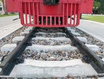 Spoorweg met oude Stoomlocomotief Stock Foto