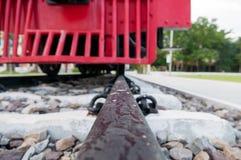 Spoorweg met oude Stoomlocomotief Royalty-vrije Stock Foto