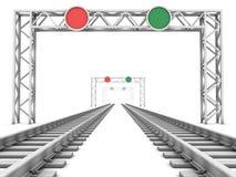 Spoorweg in mist stock illustratie