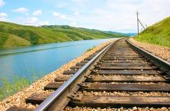 Spoorweg op een achtergrondaard Royalty-vrije Stock Afbeelding