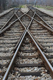 Spoorweg op post Stock Afbeeldingen