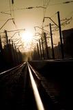 Spoorweg op zonsondergang 3 Stock Foto