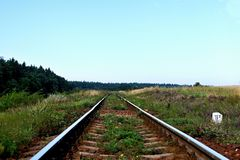 Spoorweg in perspectief Stock Foto
