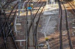 Spoorweg pointwork, spoorwegsporen, hoge snelheidsspoor royalty-vrije stock fotografie
