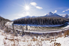 Spoorweg in Rockies stock fotografie
