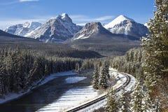 Spoorweg in Rockies royalty-vrije stock foto