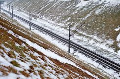 Spoorweg in sneeuw royalty-vrije stock afbeeldingen